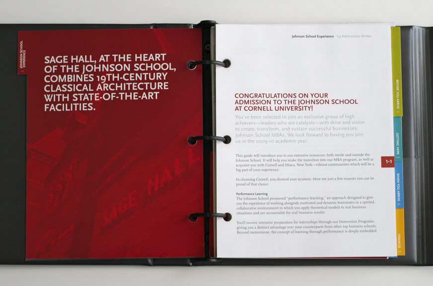 Johnson Admissions Binder Section Interior