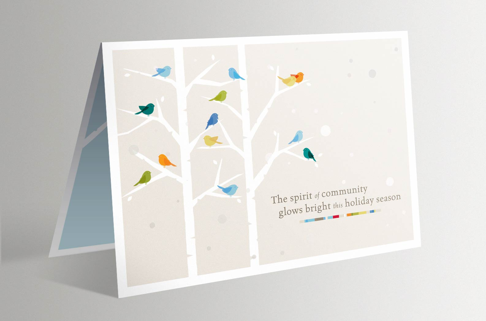 Cornell Law School Birds Holiday Card with Clear Holographic Foil Snowflakes