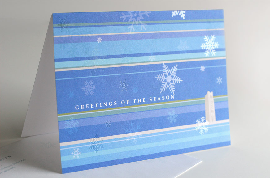 Cornell Law School Holiday Card with Clear Foil Snowflakes