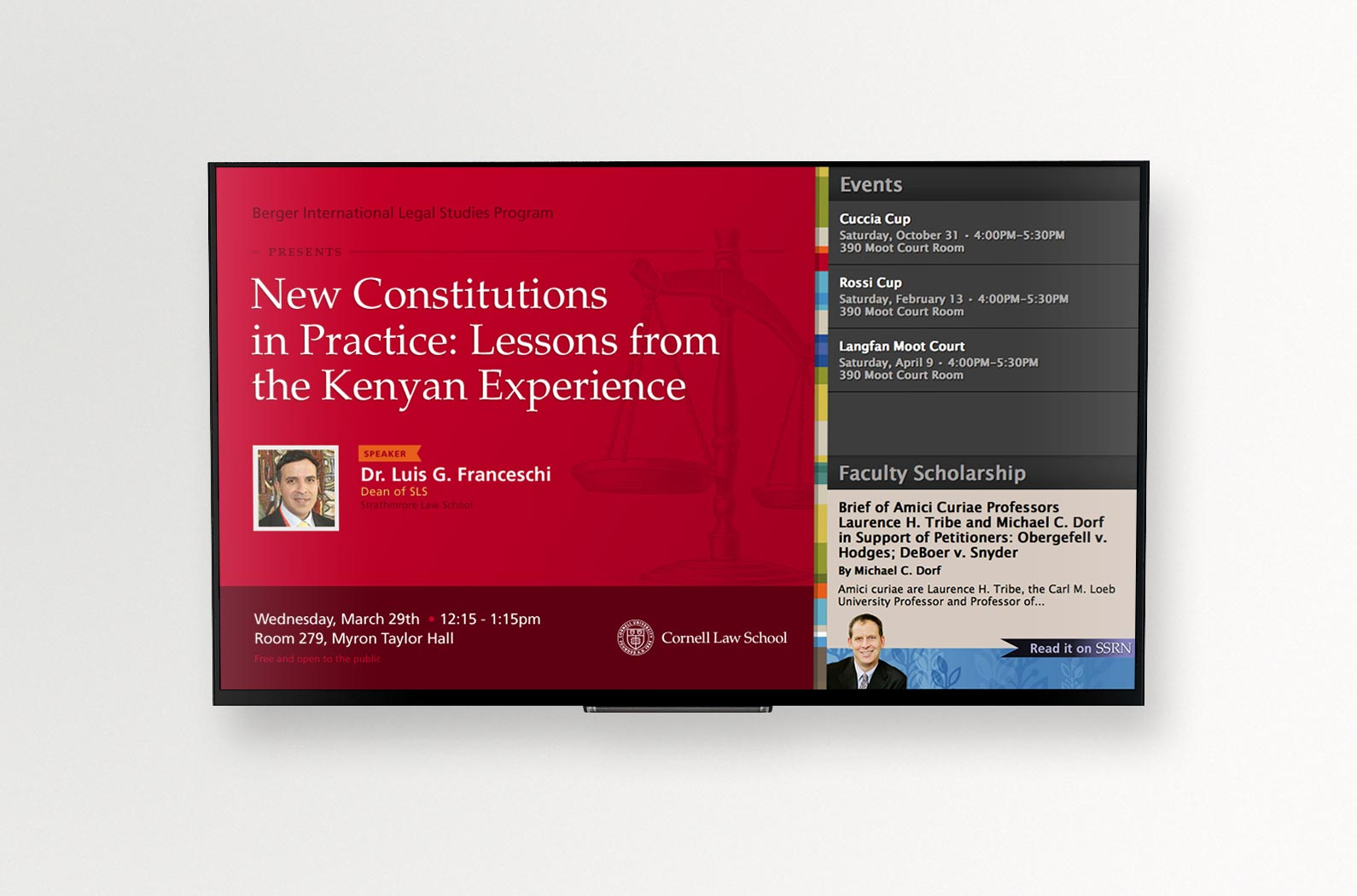 Cornell Law School Digital Event Display Red