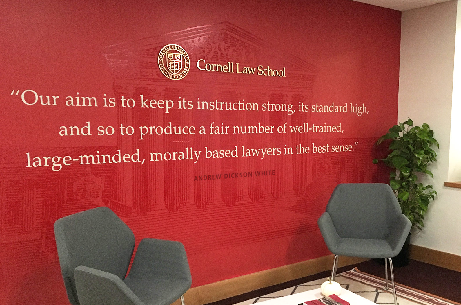 Cornell Law School Admissions Office Wall Signage