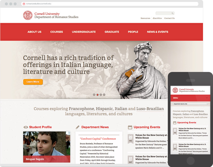 Department of Romance Studies at Cornell University Responsive Website