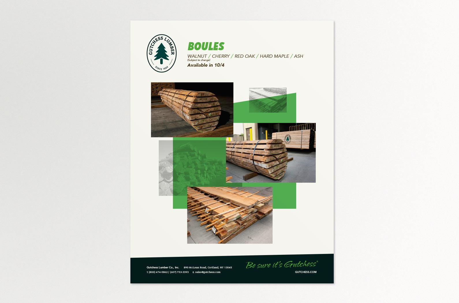 Gutchess Lumber Product Sell Sheet